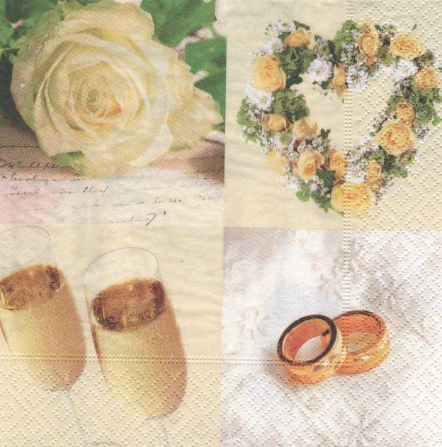 Serviette papier mariage alliance et fleurs 33 cm x 33 cm 3 plis