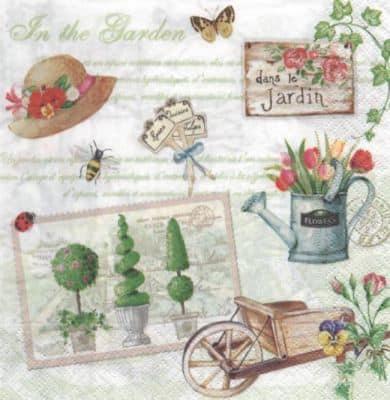 Serviette papier jardin et fleurs 33 cm x 33 cm