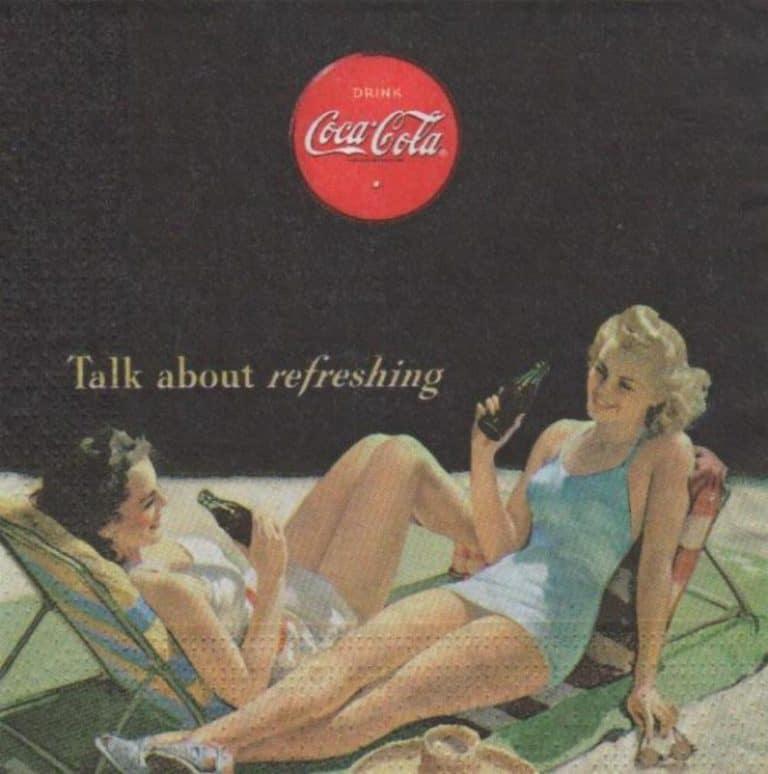 Serviette papier Coca Cola 2 dames à la plage