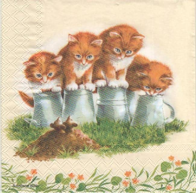 Serviette papier 4 chatons 33 cm x 33 cm