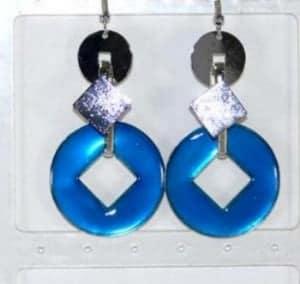 Boucle d'oreille émaux métal bleu