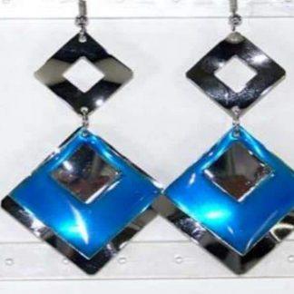 Boucles Oreilles Emaux et métal carré bleu
