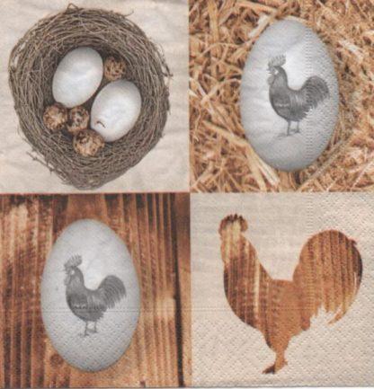 Serviette papier oeufs et poules de Pâques