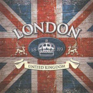 Serviette papier drapeau London 1889
