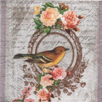 Serviette papier oiseau et roses 33 cm x 33 cm
