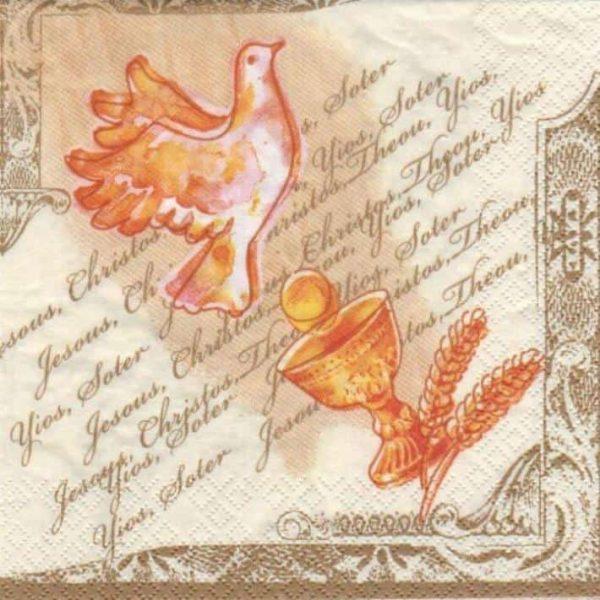 serviette papier colombe et calice 33 cm x 33 cm 3 plis