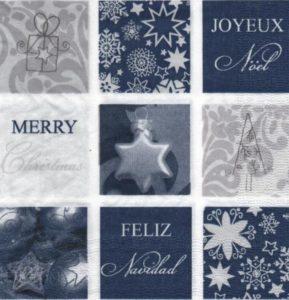 Serviette papier joyeux Noël et cadeaux 33 cm x 33 cm