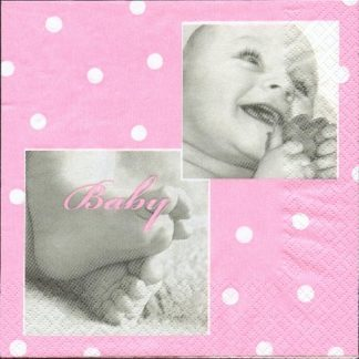 Serviette papier naissance fille 33 cm x 33 cm