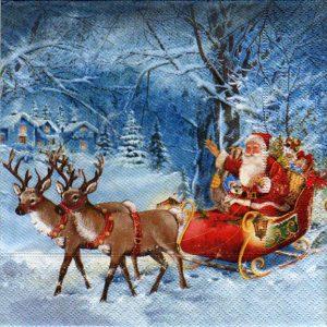 Serviette papier Père Noël et rennes