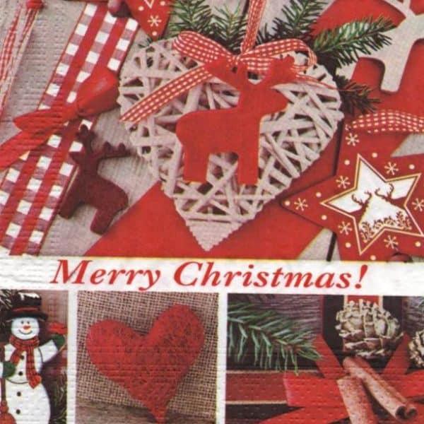 Serviette papier Noël et coeur 33 cm x 33 cm
