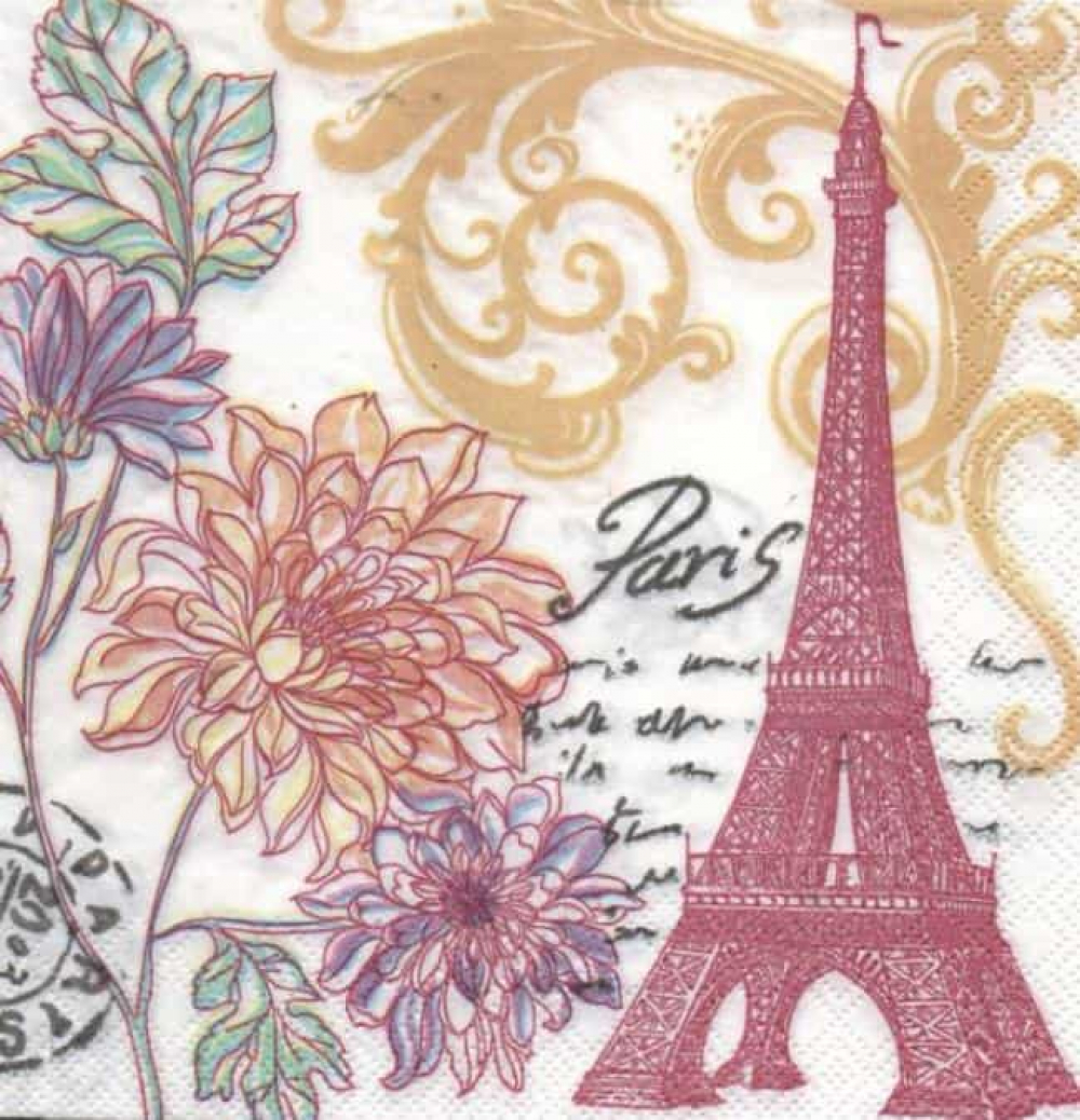 Paris et fleurs 33 cm x 33 cm