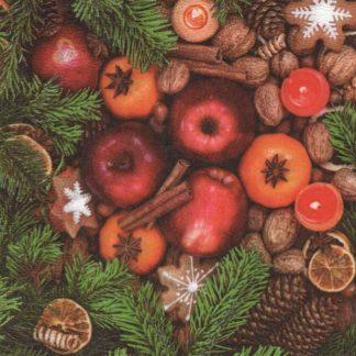 Serviette papier pomme de Noël 33 cm x 33 cm pour décoration