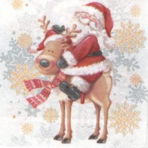 Serviette papier renne et Père Noël 33 cm x 33 cm