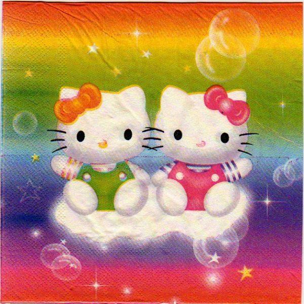 Serviette papier Hello Kitty 33 cm x 33 cm 3 plis