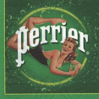 Serviette papier Perrier pub rétro 33 cm x 33 cm 3 plis