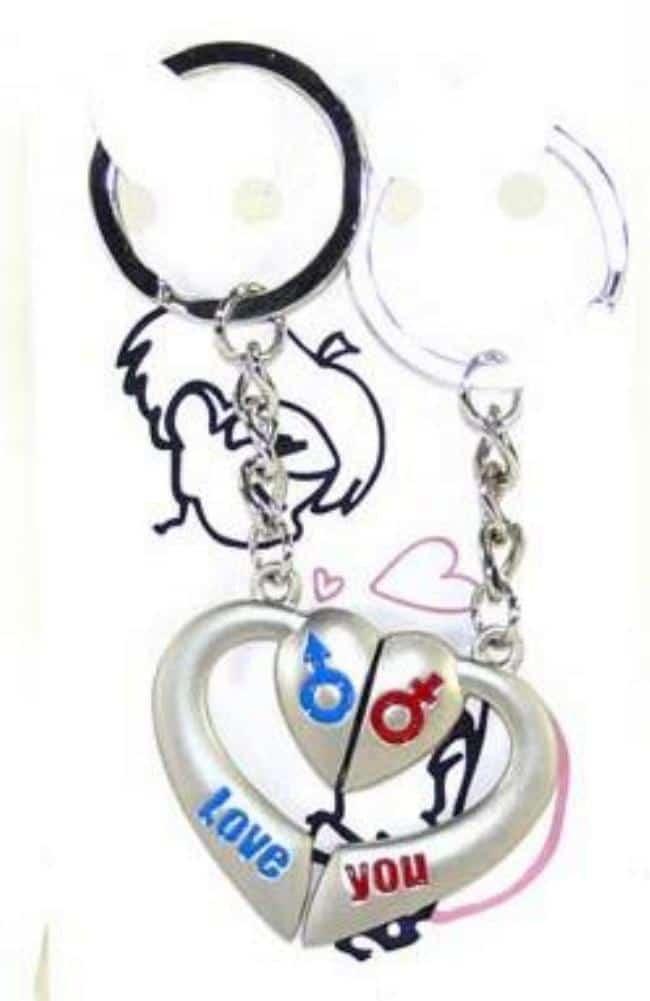 Porte clé Saint Valentin aimanté à partager