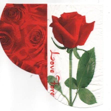 Serviette papier rose et feuille 33 cm x 33 cm