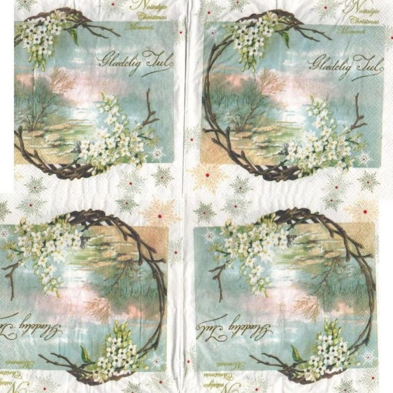Serviette papier fleurs blanche