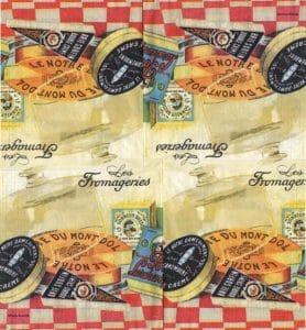 Serviettes papier les fromages 33 cm x 33 cm