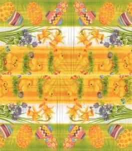 Serviette papier Pâques et poussins 33 cm x 33 cm