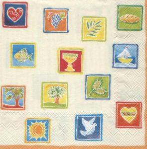 Serviette papier colombe et pains 33 cm x 33 cm