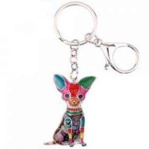 Porte clé émail chien Chihuahuas
