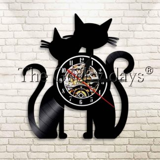 horloge murale couple de 2 chats