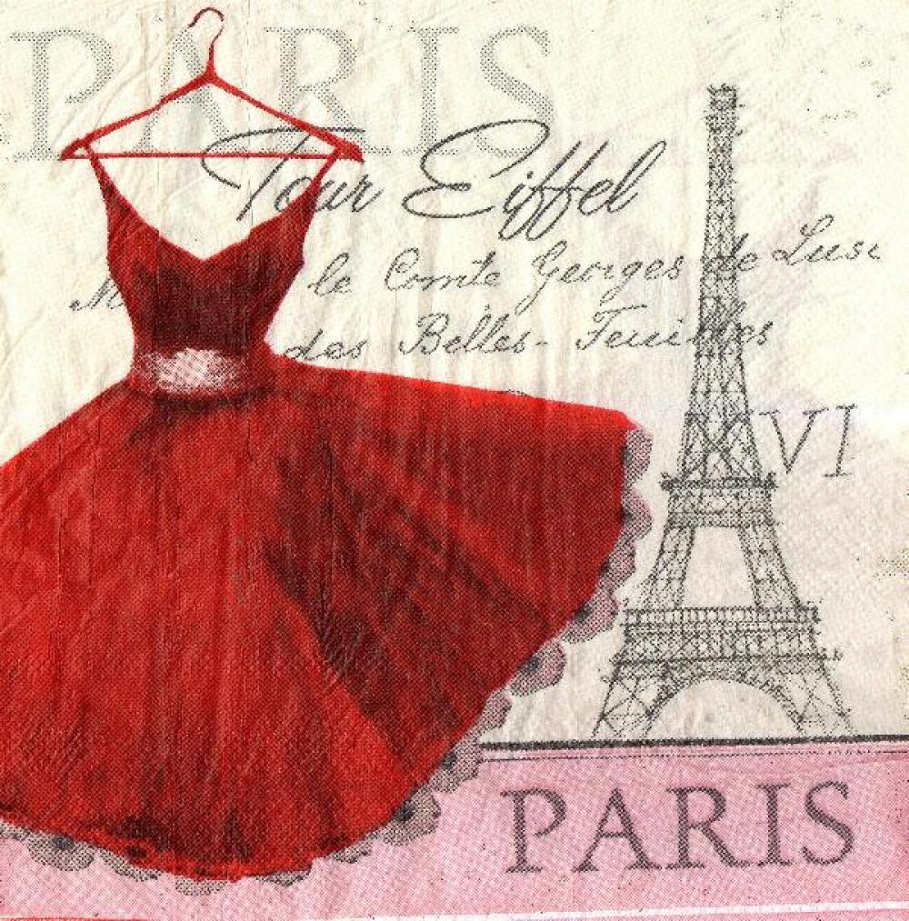 Paris et robe 33 cm x 33 cm