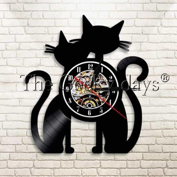 Horloge couple de chat motif vinyl