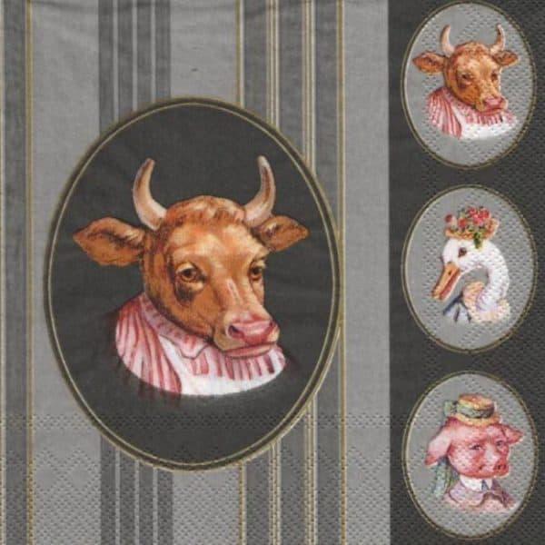 Vache et canard serviette