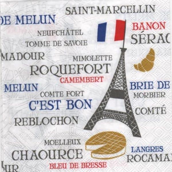 Serviette papier Fromages de France